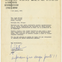 Letter from Gilberto Zaldívar to Rosa Felipe