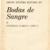 "Program for the production, ""Bodas de sangre"""