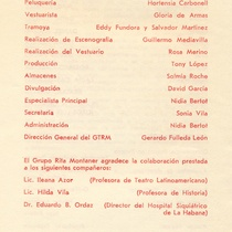 "program for the production, ""Arriba corazon"""