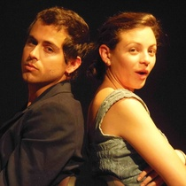 "Carlos Alejandro Rodríguez Halley and Gabriela Griffith in the production, ""Ensayo escénico sobre Venus y el albañil"""