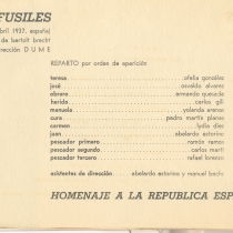 "Program for the productions, ""Los santos"" and ""Los fusiles"""