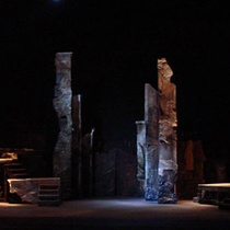 Photograph of stage design for the theatrical production, Los siete contra Tebas