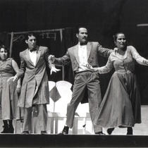 "Photograph of Déxter Cápiro, Xiomara Palacios and Héctor Noas in the production, ""La boda"""