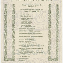 "Program for the production, ""En el viejo varietés (Teatro Musical de La Habana)"
