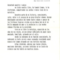 Letter from Wilfredo Angueira to Francisco Morín, 1999