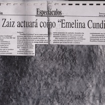 "Newspaper clipping for the production, ""Emelina Cundiamor"""