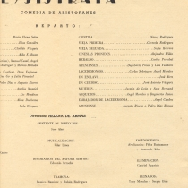 "Program for the production, ""Lysistrata"""