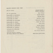 "Program for the production, ""Decamerón (Teatro Musical de La Habana)"