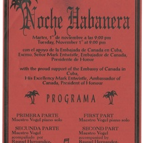 "Program for the production, ""Noche habanera"""