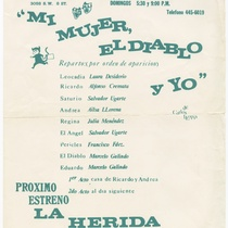 "Playbill for the production, ""Mi mujer, el diablo y yo"""