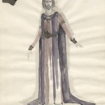 "Costume design with cloth swatch for Pilate # 4 for the production, ""Jesus Christ Superstar"" (Los Angeles)"