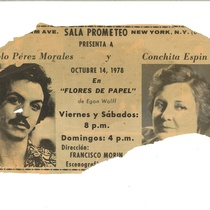 "Promotional material for the production, ""Flores de papel"" 1978"