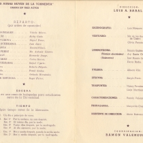 "Program for the production, ""Las auras huyen de la tormenta"""