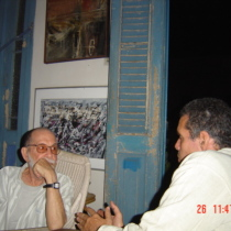 Photograph of Abelardo Estorino and Reinaldo Montero at Estorino's home, Havana