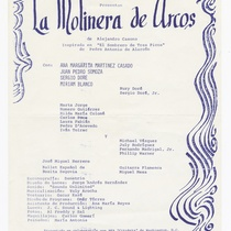 "Program for the production, ""La molinera de Arcos"" (The miller of Arcos)"