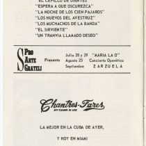 "Program for the production, ""Mundo de cristal"""