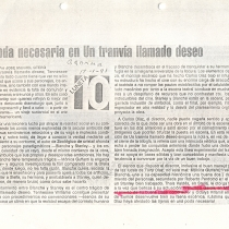 "Press release for the production, ""Un tranvía llamado deseo"""