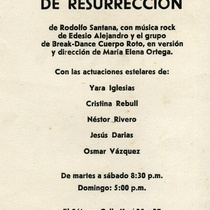 "Poster for the production, ""Primer Día de Resurreción"""