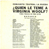 "Program for the production, ""¿Quién le teme a Virginia Woolf?"""