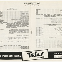 "Program for the production, ""El rey y yo"""