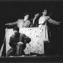 "Photograph of Déxter Cápiro (Nicleto), Amarilys Núñez (Pilano), Mario Guerra (Dimanisio) and Grettel Trujillo (Zenón) in the production, ""Los siervos"""