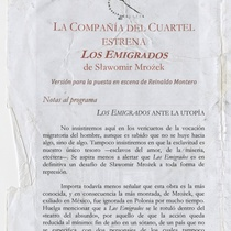 "Program for the production ""Los emigrados"""