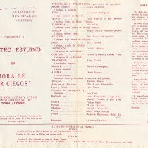 "Program for the production, ""La hora de estar ciegos"""