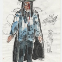 "Costume sketch for the character ""Poeta"" (Poet) for the production, ""Los fantasmas de Tulemón"""