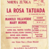 "Playbill for the production, ""La rosa tatuada"" (The rose tattoo)"