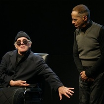 "Photograph of Pancho García (Hamm) and Waldo Franco (Clov) in the production, ""Final de Partida"""