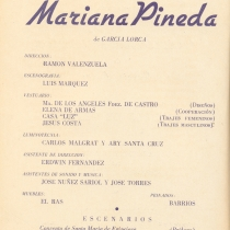 "Program for the production, ""Mariana Pineda"""