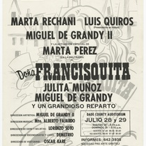 "Playbill for the production, ""Doña Francisquita"""