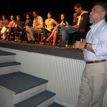"Photograph of the production, staged reading of ""Sanguivin en Union City"""