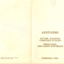 Program for the theatrical production, Aristodemo