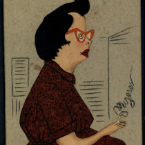 "Caricature of María Julia Casanova, in ""Mujeres"" (Women)"