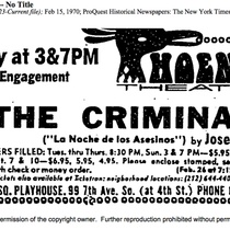 "Announcement for the production, ""The Criminals"" (Phoenix Theater)"