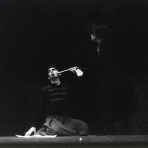 "Photograph of Déxter Cápiro (Nicleto) and Grettel Trujillo (Zenón) the production, ""Los siervos"""
