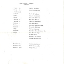 "Program for the production, ""Los perros jíbaros"" (New Jersey, 1994)"