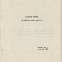 "Program for the production, ""Carlos Gardel"" (Teatro Popular Latinoamericano)"
