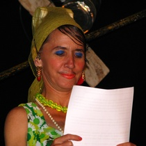 "Mariela Brito (Chela) in the performance, ""Mesa Redonda Performativa"""