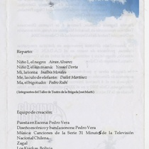 "Program for the production ""Niño pecado"""