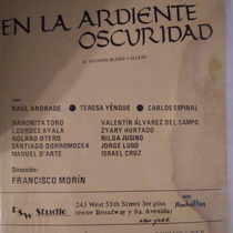 Poster for the production, En la ardiente oscuridad