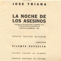 "Program for the production, ""La noche de los asesinos"""