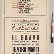 "Poster for the production, ""El velorio de Pachencho"" and ""El Bravo"""
