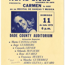 "Playbill for the production, ""Carmen, de Bizet"""