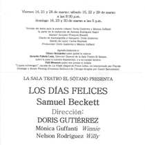 "Program for the production, ""Los días felices"""