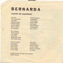 "Program for the production, ""Bernarda"""