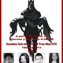 Postcard for the theatrical production, Corona de amor y muerte
