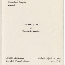 "Invitation for the production, ""Fando y Lis"""