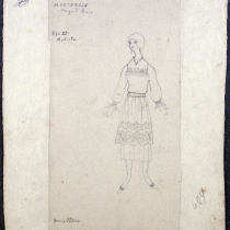 Costume design for Hortensia in the theatrical production, Las vacas gordas